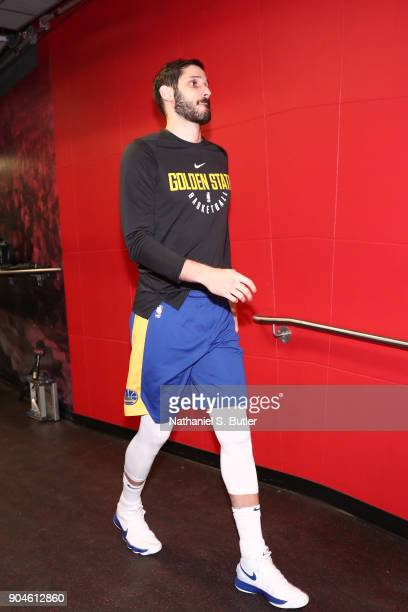 Omri Casspi of the Golden State Warriors arrives before the game against the Toronto Raptors on January 13 2018 at the Air Canada Centre in Toronto...