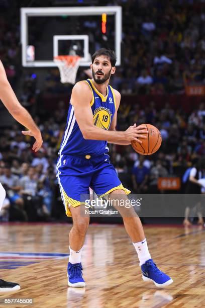 Omri Casspi of the Golden State Warriors dribbles the ball against the Minnesota Timberwolves as part of 2017 NBA Global Games China on October 5...