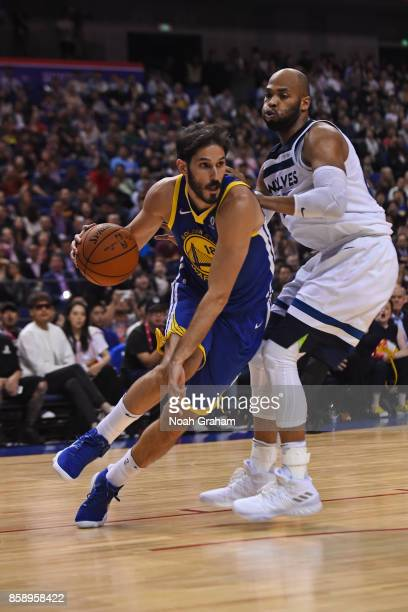 Omri Casspi of the Golden State Warriors dribbles the ball against the Minnesota Timberwolves as part of 2017 NBA Global Games China on October 8...