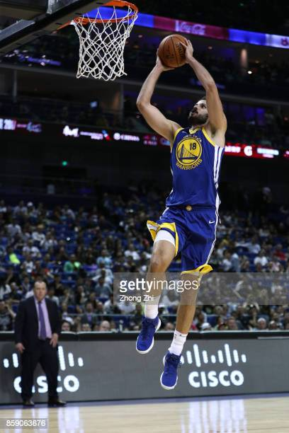 Omri Casspi of the Golden State Warriors drunks during the game between the Minnesota Timberwolves and the Golden State Warriors as part of 2017 NBA...