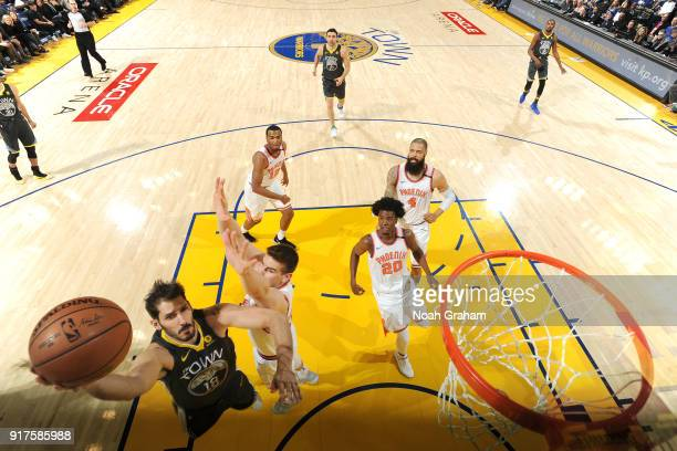 Omri Casspi of the Golden State Warriors dunks against the Phoenix Suns on February 12 2018 at ORACLE Arena in Oakland California NOTE TO USER User...
