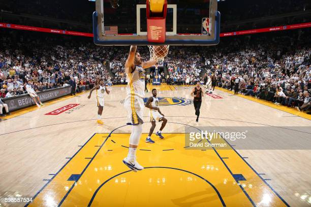 Omri Casspi of the Golden State Warriors dunks the ball against the Cleveland Cavaliers on December 25 2017 at ORACLE Arena in Oakland California...