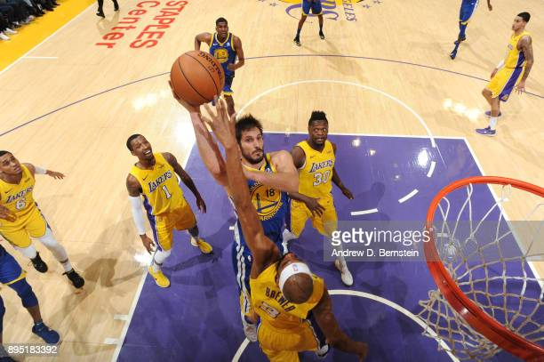 Omri Casspi of the Golden State Warriors goes to the basket against the Los Angeles Lakers on December 18 2017 at STAPLES Center in Los Angeles...
