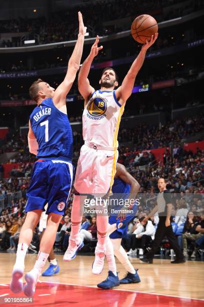Omri Casspi of the Golden State Warriors goes to the basket against the LA Clippers on January 6 2018 at STAPLES Center in Los Angeles California...