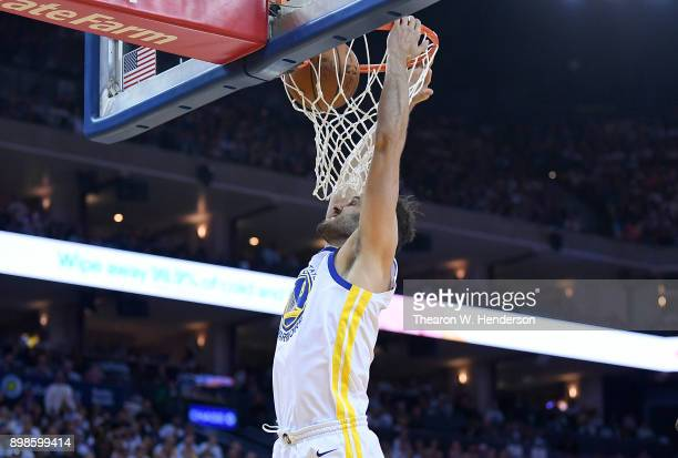 Omri Casspi of the Golden State Warriors goes up for a slam dunk against the Cleveland Cavaliers during an NBA basketball game at ORACLE Arena on...