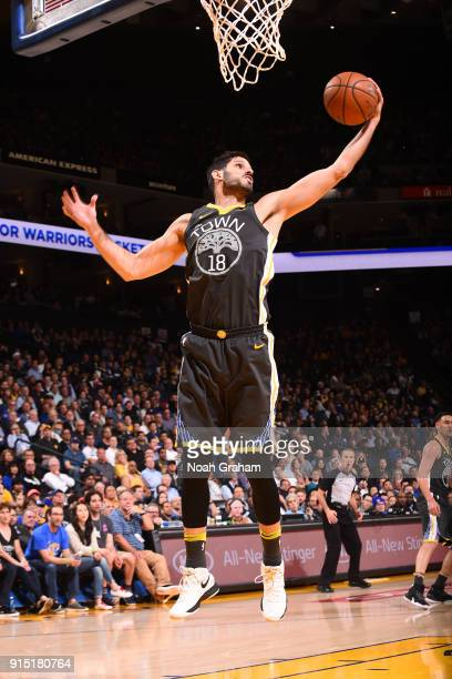 Omri Casspi of the Golden State Warriors grabs the rebound against the Oklahoma City Thunder on February 6 2018 at ORACLE Arena in Oakland California...