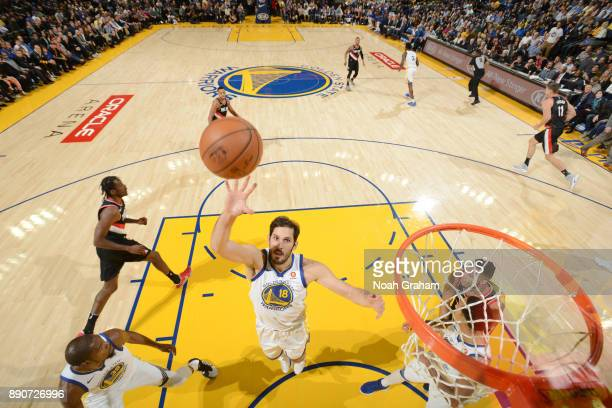 Omri Casspi of the Golden State Warriors handles the ball against the Portland Trail Blazers on December 11 2017 at ORACLE Arena in Oakland...
