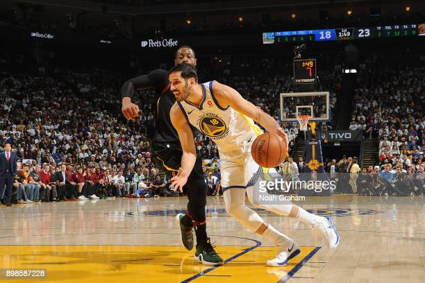 Omri Casspi of the Golden State Warriors handles the ball against the Cleveland Cavaliers on December 25 2017 at ORACLE Arena in Oakland California...