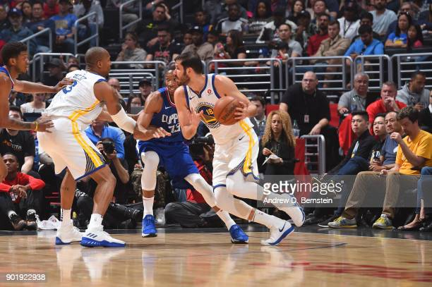 Omri Casspi of the Golden State Warriors handles the ball against the LA Clippers on January 6 2018 at STAPLES Center in Los Angeles California NOTE...