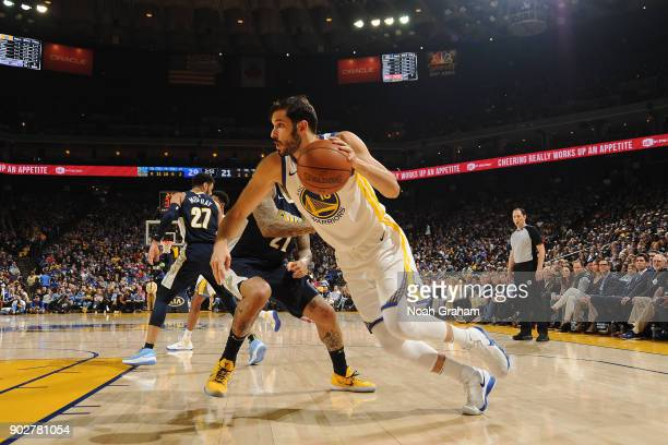 Omri Casspi of the Golden State Warriors handles the ball against the Denver Nuggets on January 8 2018 at ORACLE Arena in Oakland California NOTE TO...