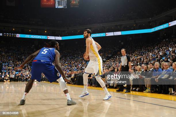 Omri Casspi of the Golden State Warriors handles the ball against the LA Clippers on January 10 2018 at ORACLE Arena in Oakland California NOTE TO...