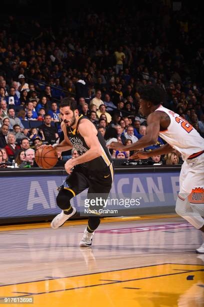 Omri Casspi of the Golden State Warriors handles the ball against the Phoenix Suns on February 12 2018 at ORACLE Arena in Oakland California NOTE TO...