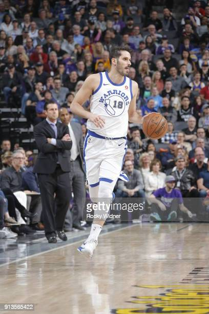 Omri Casspi of the Golden State Warriors handles the ball during the game against the Sacramento Kings on February 2 2018 at Golden 1 Center in...