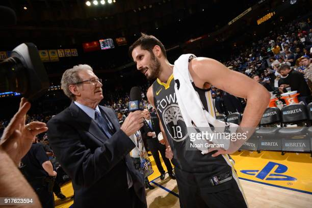 Omri Casspi of the Golden State Warriors is interviewed after defeating the Phoenix Suns on February 12 2018 at ORACLE Arena in Oakland California...