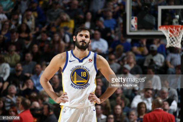 Omri Casspi of the Golden State Warriors looks on during the game against the Utah Jazz on January 30 2018 at vivintSmartHome Arena in Salt Lake City...