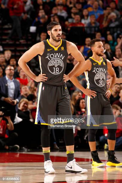 Omri Casspi of the Golden State Warriors looks on during the game against the Portland Trail Blazers on February 14 2018 at the Moda Center in...