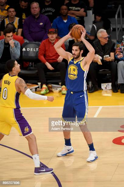 Omri Casspi of the Golden State Warriors looks to pass the ball against the Los Angeles Lakers on December 18 2017 at STAPLES Center in Los Angeles...