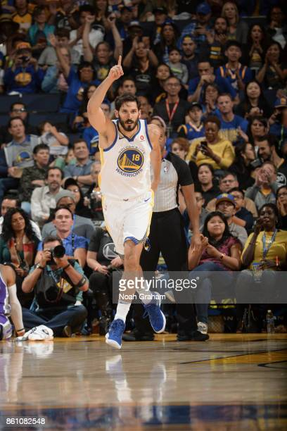 Omri Casspi of the Golden State Warriors reacts during preseason game against the Sacramento Kings on October 13 2017 at ORACLE Arena in Oakland...