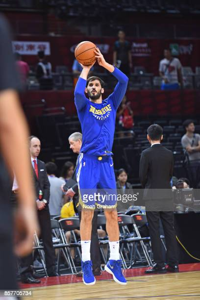 Omri Casspi of the Golden State Warriors runs out on the court before the game against the Minnesota Timberwolves as part of 2017 NBA Global Games...