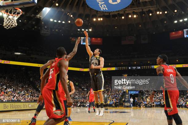 Omri Casspi of the Golden State Warriors shoots the ball against the New Orleans Pelicans on November 25 2017 at ORACLE Arena in Oakland California...