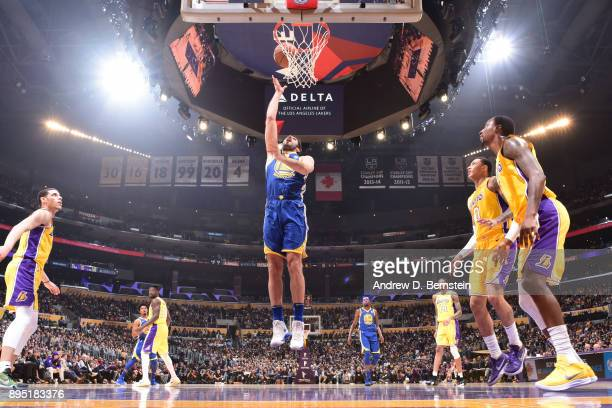 Omri Casspi of the Golden State Warriors shoots the ball against the Los Angeles Lakers on December 18 2017 at STAPLES Center in Los Angeles...