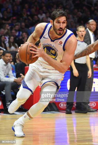 Omri Casspi of the Golden State Warriors takes the ball down court in the game against the Los Angeles Clippers on January 6 2018 in Los Angeles...