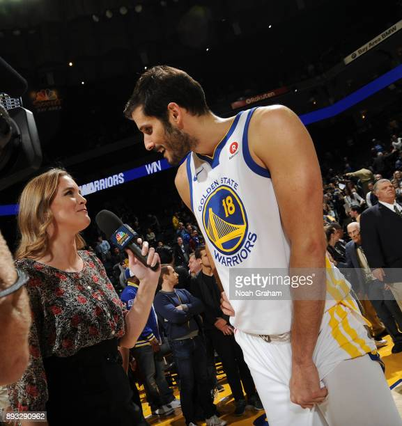 Omri Casspi of the Golden State Warriors talks with media after the game against the Dallas Mavericks on December 14 2017 at ORACLE Arena in Oakland...