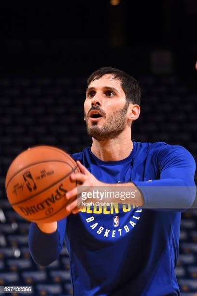 Omri Casspi of the Golden State Warriors warms up before the game against the Los Angeles Lakers on December 22 2017 at ORACLE Arena in Oakland...