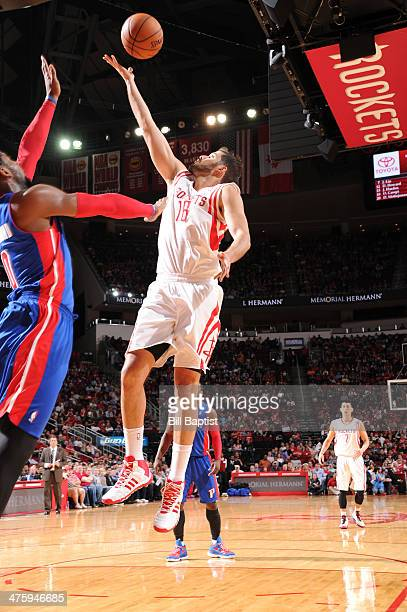 Omri Casspi of the Houston Rockets shoots against the Detroit Pistons on March 1 2014 at the Toyota Center in Houston Texas NOTE TO USER User...