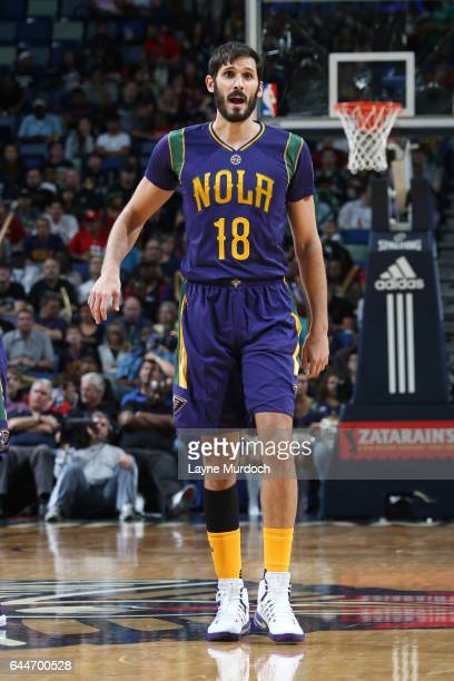 Omri Casspi of the New Orleans Pelicans stands on the court during a game against the Houston Rockets on February 23 2017 at Smoothie King Center in...