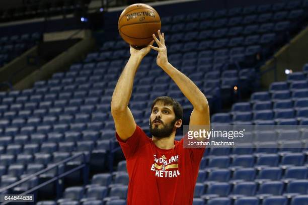 Omri Casspi of the New Orleans Pelicans warms up before a game against the Houston Rockets at the Smoothie King Center on February 23 2017 in New...