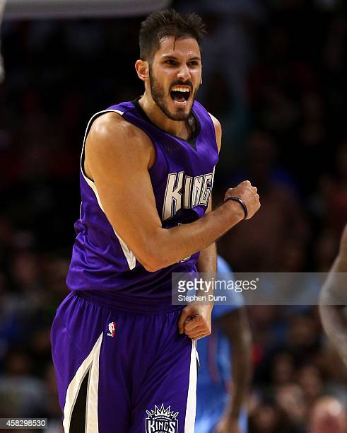 Omri Casspi of the Sacramento Kings celebrates after a Kings basket late in the game against the Los Angeles Clippers at Staples Center on November 2...