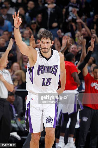 Omri Casspi of the Sacramento Kings celebrates after making a three pointer against the Atlanta Hawks on January 21 2016 at Sleep Train Arena in...