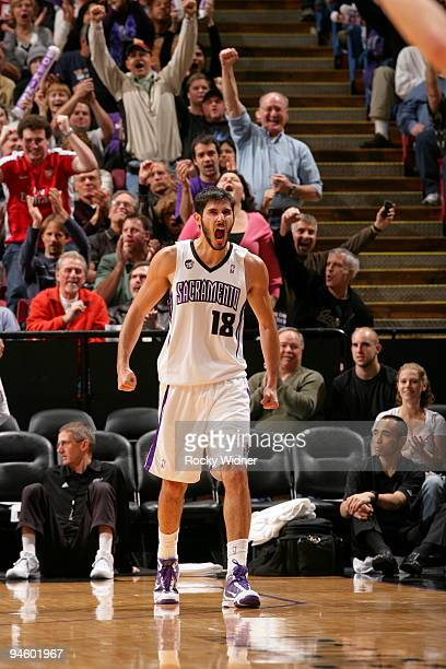 Omri Casspi of the Sacramento Kings celebrates after the play against the Washington Wizards on December 16 2009 at ARCO Arena in Sacramento...
