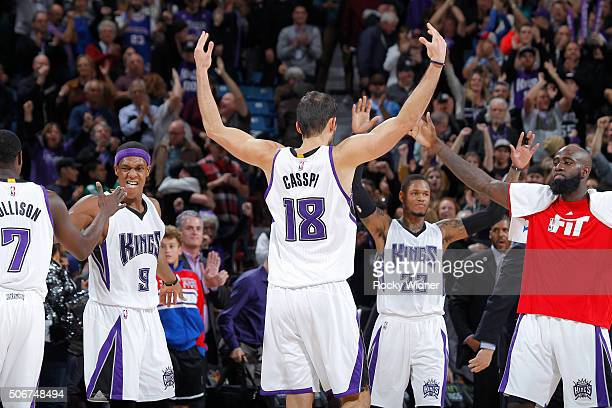 Omri Casspi of the Sacramento Kings celebrates against the Atlanta Hawks on January 21 2016 at Sleep Train Arena in Sacramento California NOTE TO...