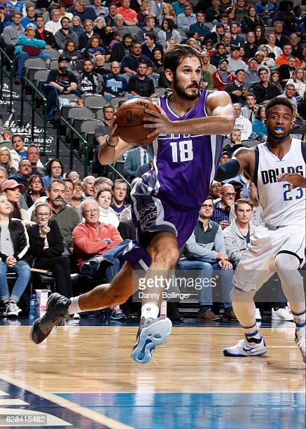 Omri Casspi of the Sacramento Kings drives against the Dallas Mavericks on December 7 2016 at the American Airlines Center in Dallas Texas NOTE TO...
