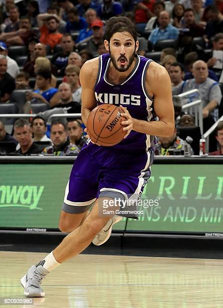 Omri Casspi of the Sacramento Kings drives to the basket during the game against the Orlando Magic at Amway Center on November 3 2016 in Orlando...