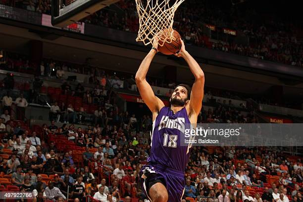 Omri Casspi of the Sacramento Kings goes to the basket against the Miami Heat on November 19 2015 at AmericanAirlines Arena in Miami Florida NOTE TO...