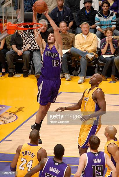 Omri Casspi of the Sacramento Kings goes up for a shot against the Los Angeles Lakers at Staples Center on January 1 2010 in Los Angeles California...