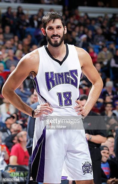 Omri Casspi of the Sacramento Kings looks on during the game against the Portland Trail Blazers on December 27 2015 at Sleep Train Arena in...
