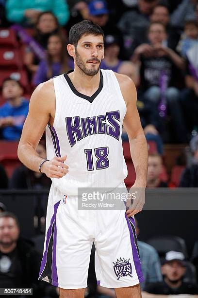 Omri Casspi of the Sacramento Kings looks on during the game against the Atlanta Hawks on January 21 2016 at Sleep Train Arena in Sacramento...