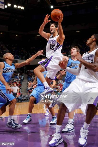 Omri Casspi of the Sacramento Kings looks to pass the ball against the Utah Jazz during a preseason game on October 23 2009 at ARCO Arena in...