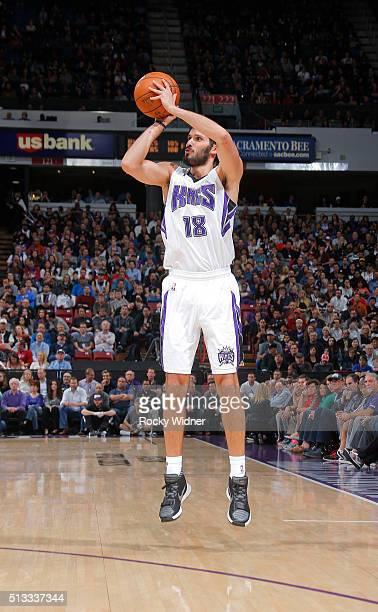 Omri Casspi of the Sacramento Kings shoots a three pointer against the San Antonio Spurs on February 24 2016 at Sleep Train Arena in Sacramento...
