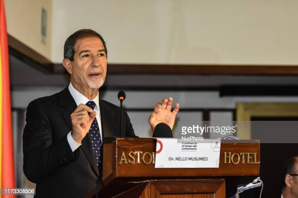 On 03 October 2019 the Governor of Sicily Nello Musumeci opens the work of the 6th Regional Conference quotTrade at the time of changequot at the...