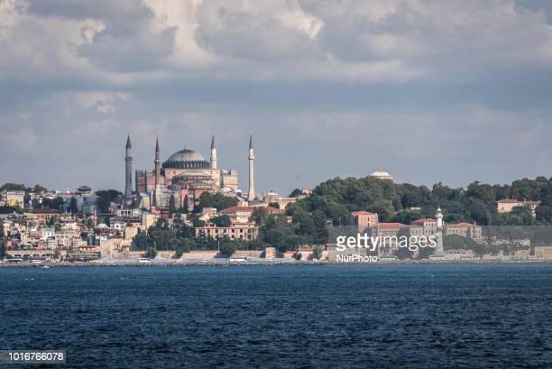 On 10 August 2018, the historic Hagia Sophia Mosque rises over the Bosphorus Strait in Istanbul, Turkey.