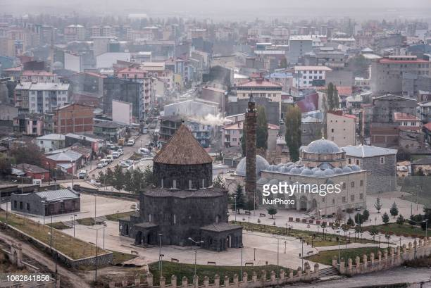 On 12 November 2018 the Cathedral of Kars stands before a panorama view of the city of Kars one of the largest urban areas in the northeast Anatolian...
