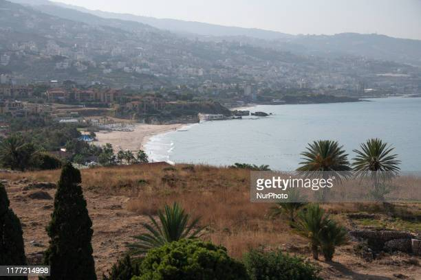 On 14 October waves from the Mediterranean Sea crash on the coast of Byblos Lebanon