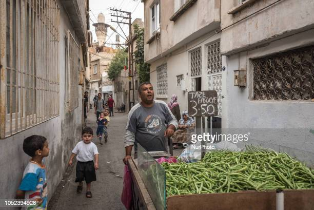 On 16 Oct 2018 a vendor selling green beans on a street cart walks through the narrow street in a lowincome neighborhood in Gaziantep a city in...