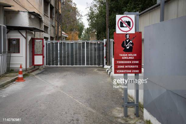 On 20 April 2019, a military sign reading 'forbidden zone' appears at a check point between north and south Cyprus in Nicosia, or Lefkosa, the...