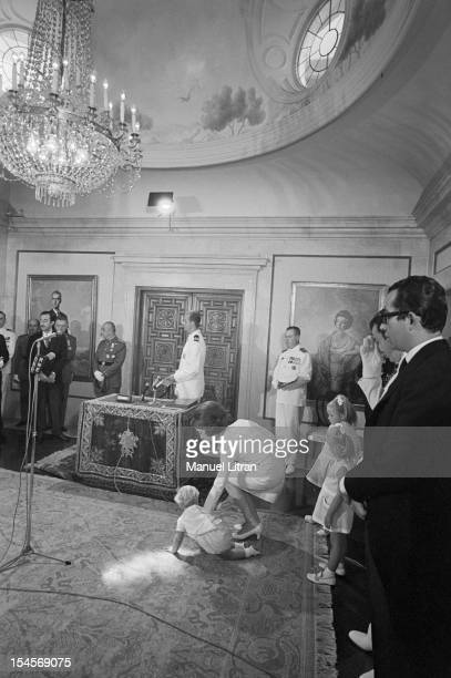 On 24 July 1969 in a hall of the palace of the Cortes in Madrid Spain Juan Carlos Prince of Spain and became the official successor of Franco...
